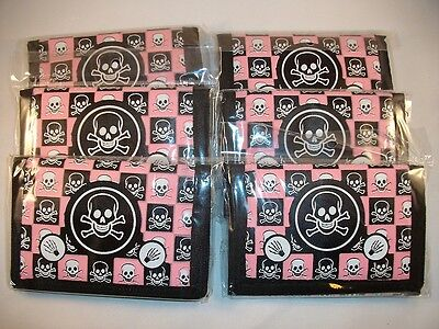 Lot of 6 Kids Tri-Fold Nylon Wallets With Skulls & Bones ~ Pink / Wholesale