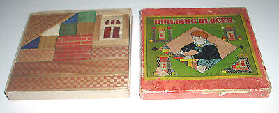 Antique / Vintage House / Village / Architectural 15PC Wood Build Block Set  Box