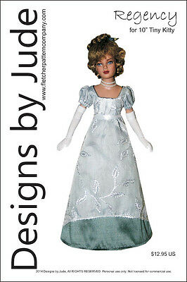 "Regency Dress Doll Clothes Sewing Pattern for 10"" Tiny Kitty Tonner"