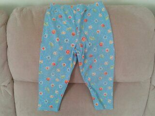 Baby Girls 18-24 months - Turquoise Blue Leggings, Fruit & Flower Pattern