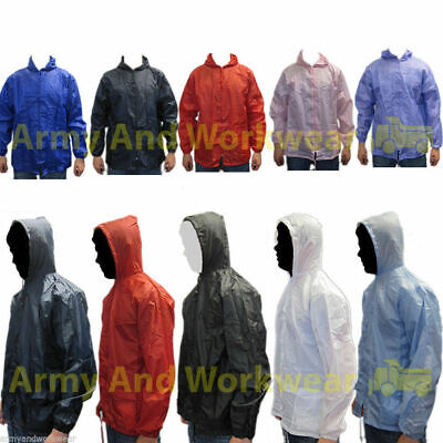 Lightweight Unisex Rain Jacket Coat Kagoul Hooded Showerproof  Hood Mens Ladies