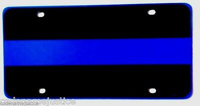 """POLICE THIN BLUE LINE REFLECTIVE METAL LICENSE PLATE -  SIZE: 6"""" x 12"""""""