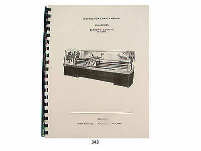 """Clausing 17"""" Lathe 8000 Series Instruction & Parts  Manual *343"""