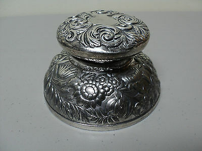 Large Victorian Era Meriden Silverplate Inkwell, Heavy Chased Floral Decoration