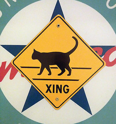CAT CROSSING - PORCELAIN retro COATED SIGN - we ship worldwide