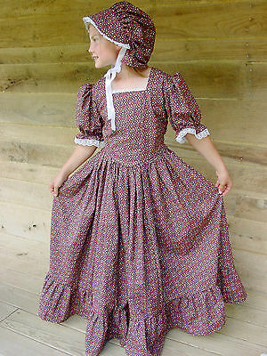 Handmade Historical Costumes Pioneer Girl Colonial ~Brown Prairie Dress~ 4/5