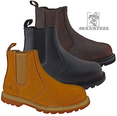 Mens Leather Slip On Chelsea Dealer Safety Boots Work Boots Shoes Steel Toe Cap