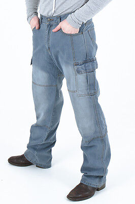 Men's Motorcycle Motorbike Dull cargo Pants Protective Lining 14oz Denim Jeans