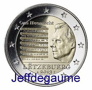 GD Luxembourg 2 euro com 2013 Hyme National 500.000expl.