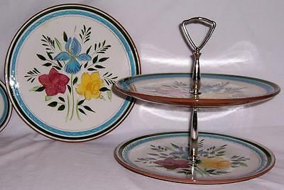Vintage 2 Stangl Pottery COUNTRY GARDEN 1 Plate & Two Tier Handled Server!!