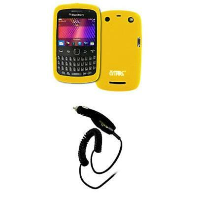 EMPIRE Yellow Silicone Skin Case Cover + Car Charger (CLA) for BlackBerry Curve