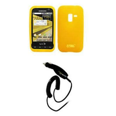 EMPIRE Sprint Samsung Conquer 4G Yellow Silicone Skin Case Cover + Car Charger (