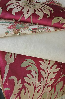 Antique French fabric vintage material PROJECT BUNDLE SILK LINEN COTTON  old