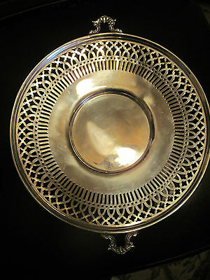 International Silver Silverplated Pierced Round Silverplated Tray Handles Footed