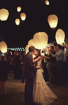 20pcs White Chinese Fire Sky Floating Wedding Wishing Special Paper Lanterns