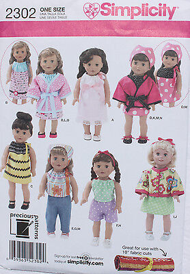 """18"""" GIRL DOLL CLOTHES Simplicity Sewing Pattern # 2302 American Made  NEW"""