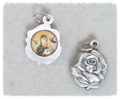 ROSE Charm Lady of PERPETUAL Help ITALY Holy Medals Rosary Bracelet A126 Silver