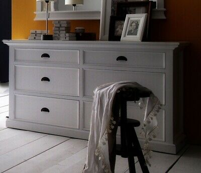 Stockholm White Painted Mahogany Bedroom Furniture Wide 6 Drawer Chest of Drawer