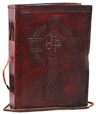 Celtic Cross Handmade Leather Blank Journal Grimoire (BOS)