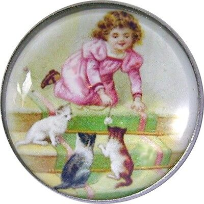 Little Girl Playing w/ Cats Crystal Dome Button Lg Sz 1 & 3/8 inch  CB 06
