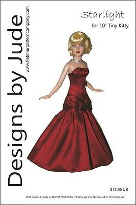 "Starlight Gown Doll Clothes Sewing Pattern for 10"" Tiny Kitty Tonner"