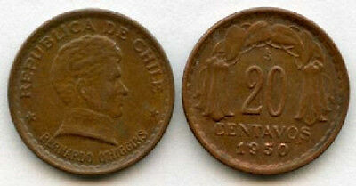Chile 1942-53 20 Centavos 3 Different Dates (KM177)