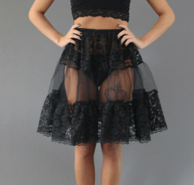 Short or Mid Lace Skirt Petticoat - Custom Made in UK Black White Ivory Red