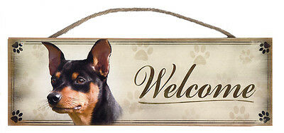 "Miniature Pinscher ""Welcome"" Rustic Wall Sign Plaque Gifts Home Ladies Pets Dogs"