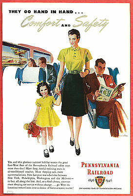 1946 Ad ~ PENNSYLVANIA RAILROAD RR ~ Mother & Daughter, Comfort & Safety