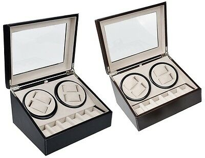 Leather Automatic Rotation 4+6 Watch Winder Storage Case Display Box Black Brown