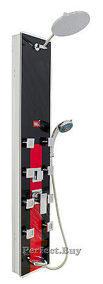"51"" Shower Panel Tower Black Red Jets Spray Spa Body Massage Overhead Rainfall"