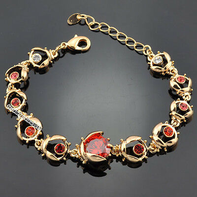 New 18K Yellow Gold GP A Row of Crystal Ladybug Red Center Stone Bracelet XS011E