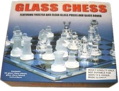 14 INCH CHESS SET WITH GLASS CHESSMEN gi407  new elegant board game gift party