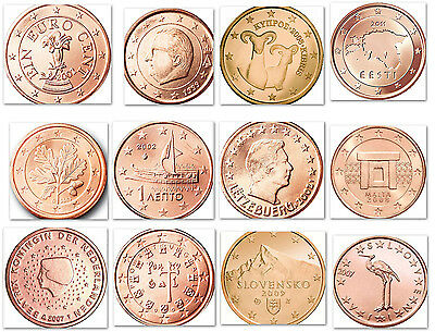 Euro Cent 17 Different Countries Uncirculated Set