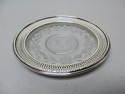 "VINTAGE GLASS COASTER ENGRAVED FLORAL DESIGN with ""WEBSTER"" STERLING SILVER RIM"