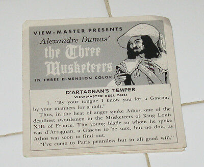 Vintage Sawyer's THREE MUSKETEERS Loose Booklet - who knows, you might need this