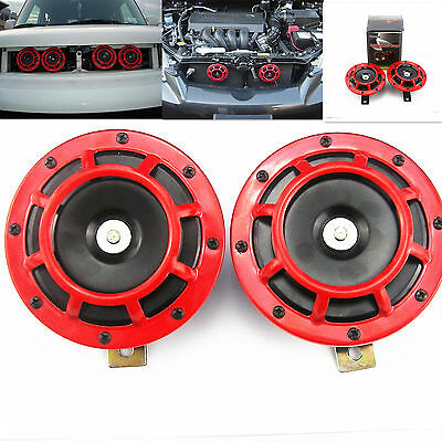2 Pcs Universal Red Grille Mount Super Tone Loud 12V Compact Electric Horn KIT