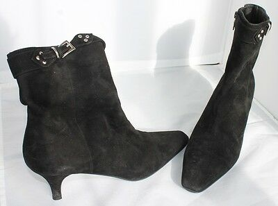 Authentic Prada  Leather Boots Made in Italy Designer Black Pointed Square EG