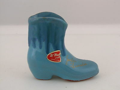 "McMaster Pottery, Dundas Canada Souvenir Boot, Jasper Canada, Turquoise, 4"" tall"