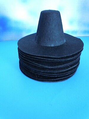 Wholesale Lot of (12) Black  Felt Pilgrim Hats for (M) Doll