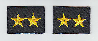 2 Police Chief/Deputy/Sheriff 2 STARS GOLD on MIDNIGHT collar/lapel patches 1.75