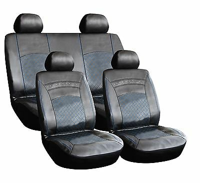 8 Piece Leather Look Pvc Car Seat Covers Black + Blue Stitching Mercbb