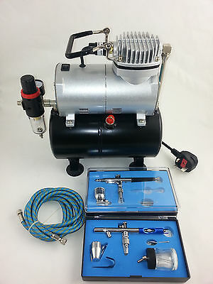 Airbrush Kit - Piston Compressor With Tank & Two Dual Action Airbrushes - New