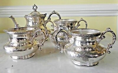 Antique Pairpoint Mfg Co Pattern 360 Quadruple Silver Plate Tea Service
