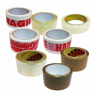 Packing / Parcel Tape Brown Clear Fragile HWC Security 3M Scotch 48mm x 66m
