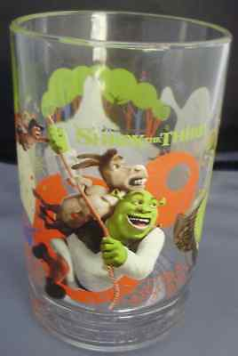 "SHREK III MCDONALD'S GLASS BEWARE OGRES 2007 PROMO 5"" 14 ounces"