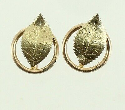ANTIQUE VICTORIAN ART NOUVEAU GF GOLD FILLED SCREW BACK LEAF IN CIRCLE EARRINGS