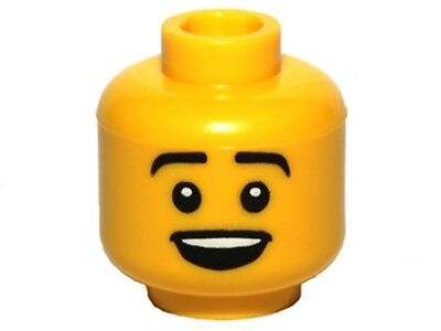Lego New Yellow Minifigure Head Black Eyebrows Red Tongue Sticking Out Part