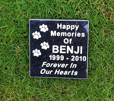 Polished Black Granite Pet Memorial Stone Plaque Mow Over