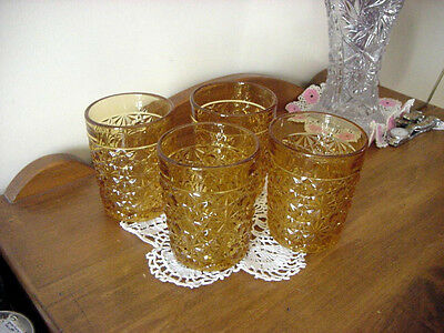 """4 EAPG PATTERN GLASS AMBER """"DAISY & BUTTON"""" Ca. 1890 TUMBLERS"""